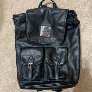 Guess Black Adjustable Faux Leather Backpack
